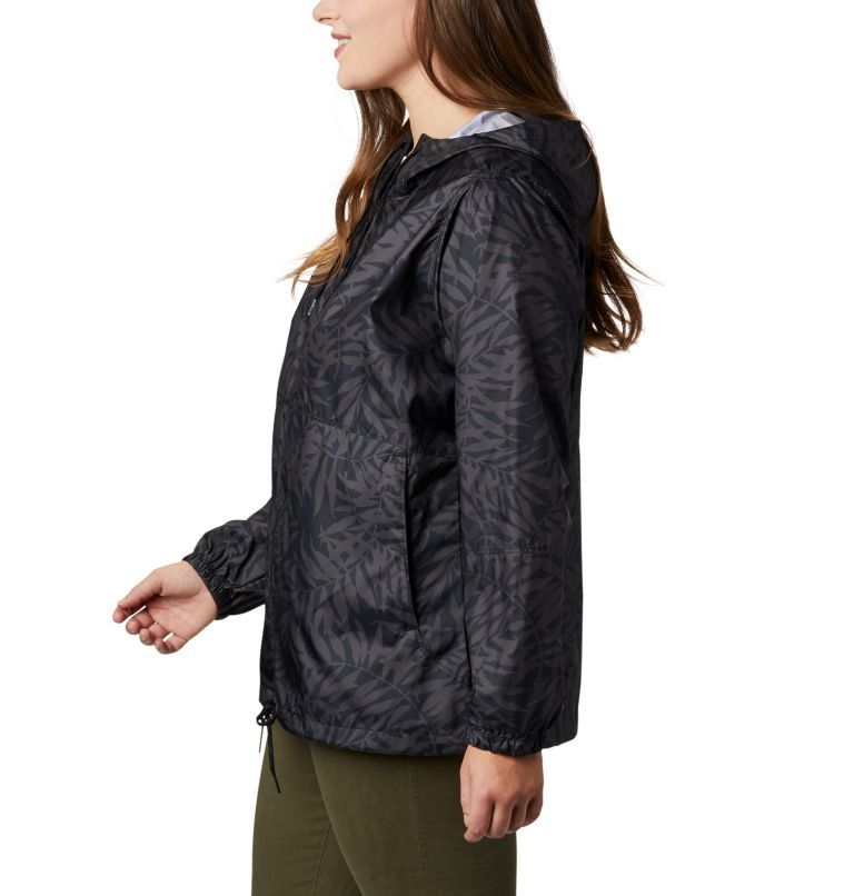 Flash Forward™ Printed Windbreaker | 019 | 3X Women's Flash Forward™ Printed Windbreaker – Plus Size, Black Wispy Bamboo, a1