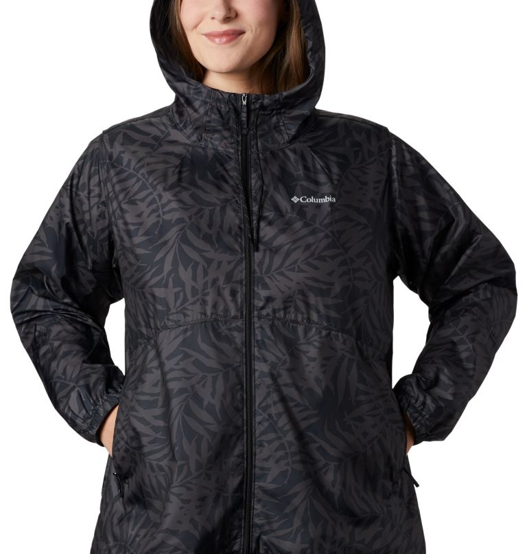 Flash Forward™ Printed Windbreaker | 019 | 3X Women's Flash Forward™ Printed Windbreaker – Plus Size, Black Wispy Bamboo, a2