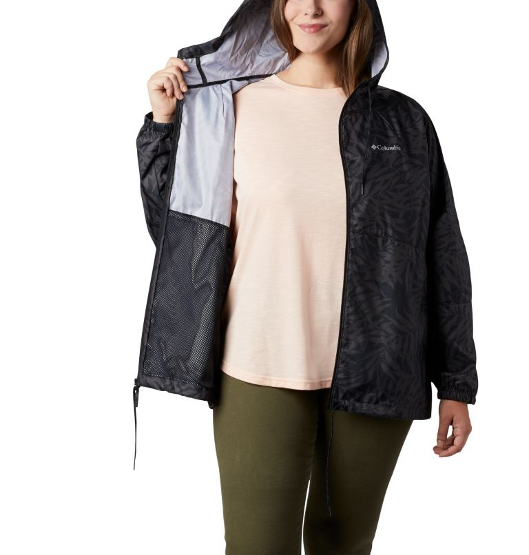 Flash Forward™ Printed Windbreaker | 019 | 3X Women's Flash Forward™ Printed Windbreaker – Plus Size, Black Wispy Bamboo, a3