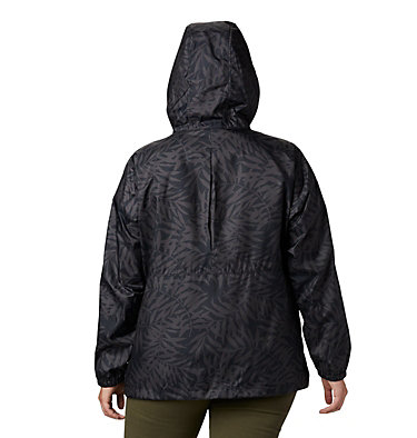 Women's Flash Forward™ Printed Windbreaker – Plus Size Flash Forward™ Printed Windbreaker | 490 | 1X, Black Wispy Bamboo, back