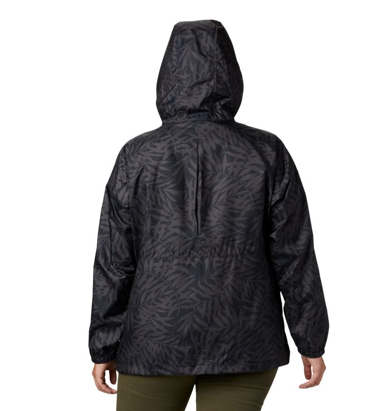 Flash Forward™ Printed Windbreaker | 019 | 3X Women's Flash Forward™ Printed Windbreaker – Plus Size, Black Wispy Bamboo, back