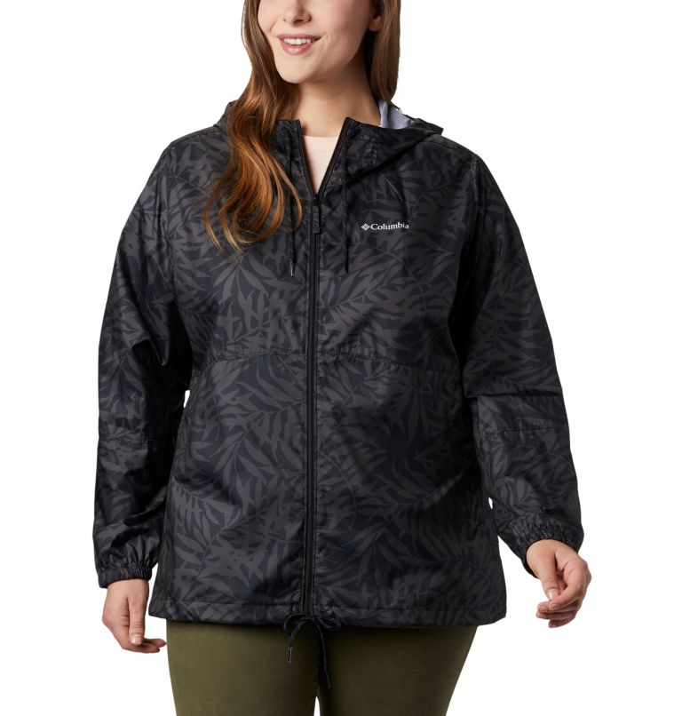 Flash Forward™ Printed Windbreaker | 019 | 3X Women's Flash Forward™ Printed Windbreaker – Plus Size, Black Wispy Bamboo, front