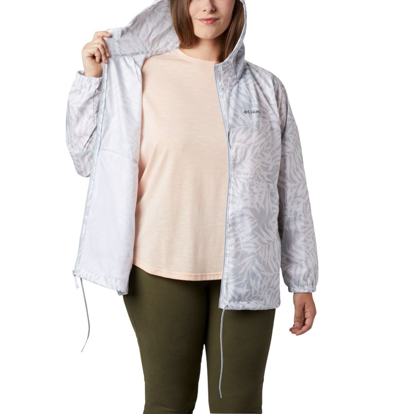 Flash Forward™ Printed Windbreaker | 031 | 3X Women's Flash Forward™ Printed Windbreaker – Plus Size, Cirrus Grey Wispy Bamboo, a3