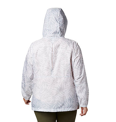 Women's Flash Forward™ Printed Windbreaker – Plus Size Flash Forward™ Printed Windbreaker | 490 | 1X, Cirrus Grey Wispy Bamboo, back