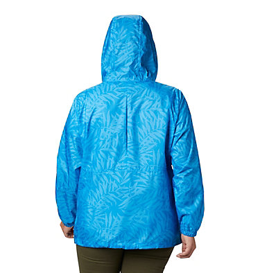 Women's Flash Forward™ Printed Windbreaker – Plus Size Flash Forward™ Printed Windbreaker | 490 | 1X, Static Blue Wispy Bamboo, back