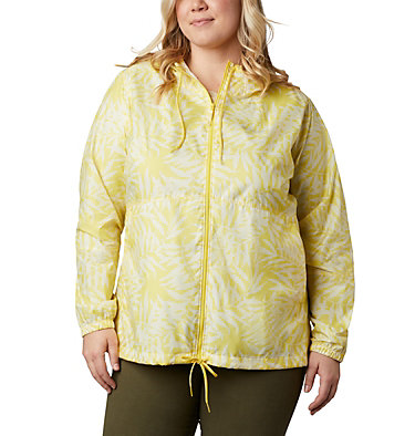 Women's Flash Forward™ Printed Windbreaker – Plus Size Flash Forward™ Printed Windbreaker | 490 | 1X, Buttercup Wispy Bamboo, front