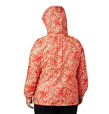 Women's Flash Forward™ Printed Windbreaker – Plus Size Flash Forward™ Printed Windbreaker | 490 | 1X, Bold Orange Wispy Bamboo, back