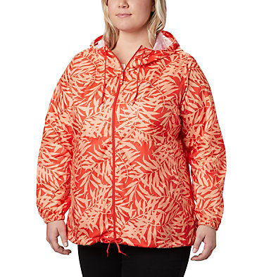 Women's Flash Forward™ Printed Windbreaker – Plus Size Flash Forward™ Printed Windbreaker | 490 | 1X, Bold Orange Wispy Bamboo, front