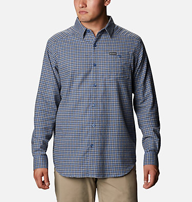 Men's Cornell Woods™ Flannel Long Sleeve Shirt - Tall Cornell Woods™ Flannel Long Sleeve Shirt | 449 | 3XT, Bluestone Plaid, front