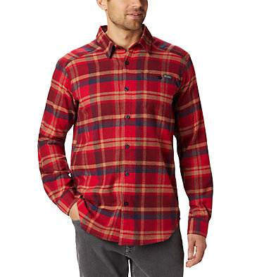 Men's Cornell Woods™ Flannel Long Sleeve Shirt - Tall Cornell Woods™ Flannel Long Sleeve Shirt | 449 | 3XT, Mountain Red Medium Plaid, front