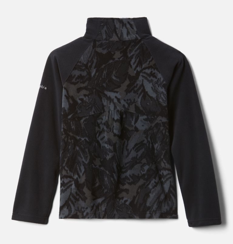 Glacial™ II Fleece Print Half Zip | 015 | XS Girls' Glacial™ II Printed Fleece 1/4 Zip Pullover, Black Leafscape Print, back