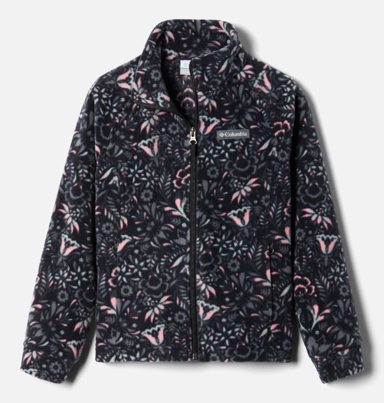 Benton Springs™ II Printed Fleece | 016 | S Girls' Benton Springs™ II Printed Fleece Jacket, Black Folk Floral Print, front