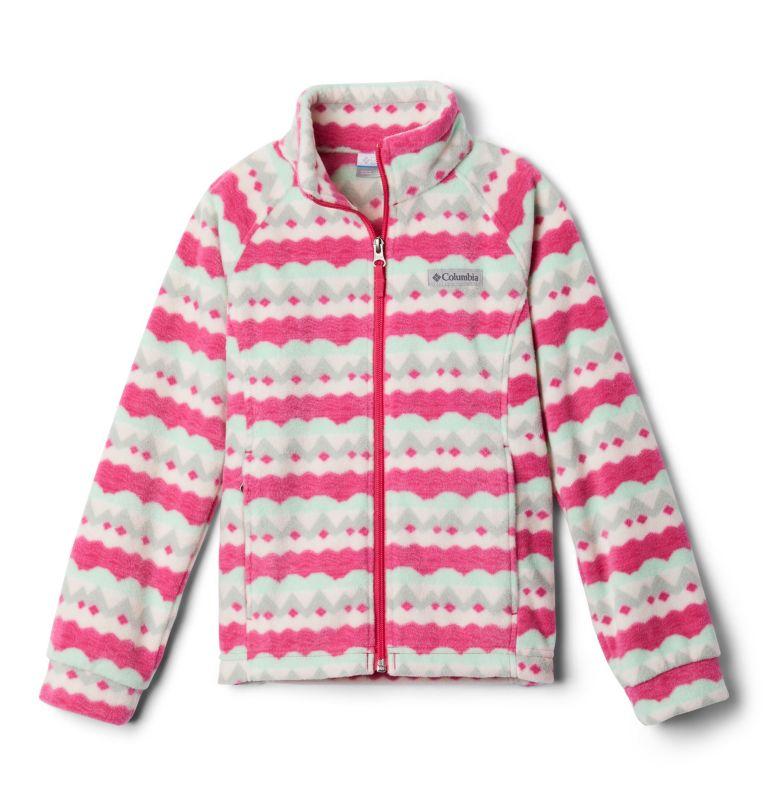 Benton Springs™ II Printed Fleece   613   L Girls' Benton Springs™ II Printed Fleece Jacket, Cactus Pink Striped Peaks, front