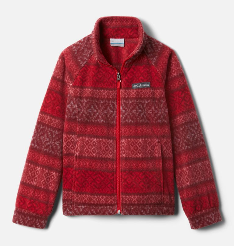 Benton Springs™ II Printed Fleece | 658 | L Girls' Benton Springs™ II Printed Fleece Jacket, Red Lily Fairisle Dot Print, front