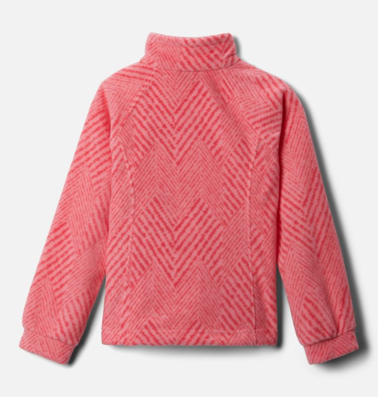 Benton Springs™ II Printed Fleece | 689 | XXS Girls' Benton Springs™ II Printed Fleece Jacket, Pink Orchid Chevron Print, back