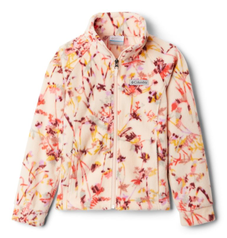 Benton Springs™ II Printed Fleece | 886 | XL Girls' Benton Springs™ II Printed Fleece Jacket, Peach Quartz Art Bouquet Multi, front