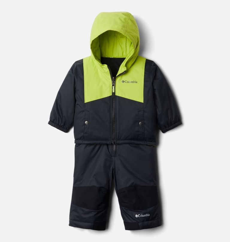 Double Flake™ Set | 010 | 6/12 Infant Double Flake™ Snow Set, Black, Bright Chartreuse, front