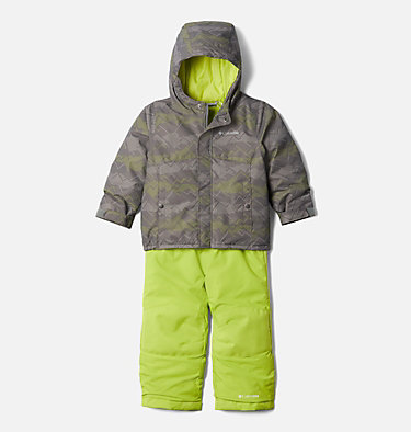 Toddler Buga™ Set Buga™ Set | 310 | 4T, City Grey Dotscape Print, Brt Chartreuse, front