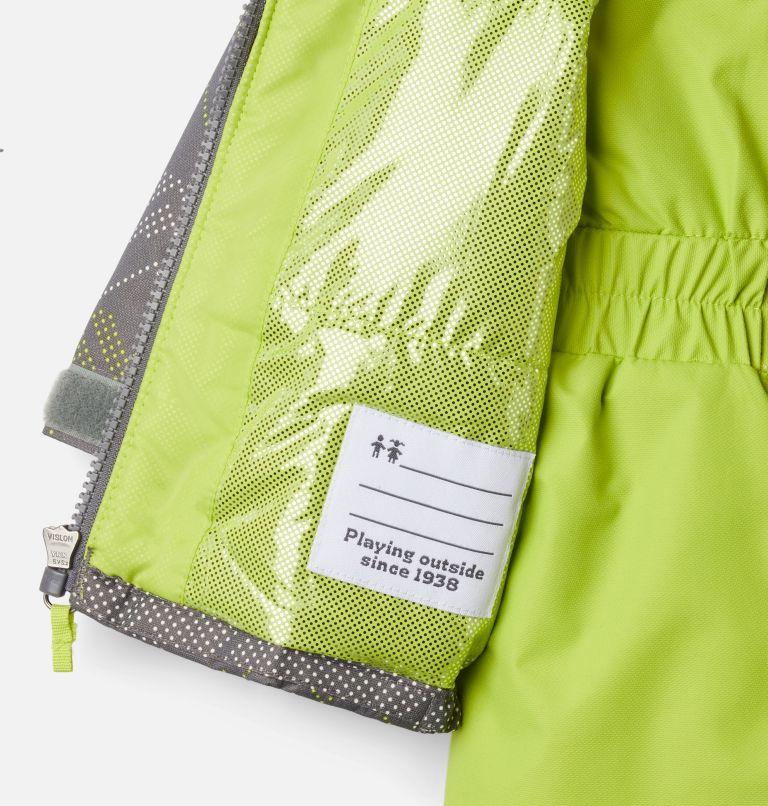 Buga™ Set | 023 | 12/18 Infant Buga™ Jacket & Bib Set, City Grey Dotscape Print, Brt Chartreuse, a1