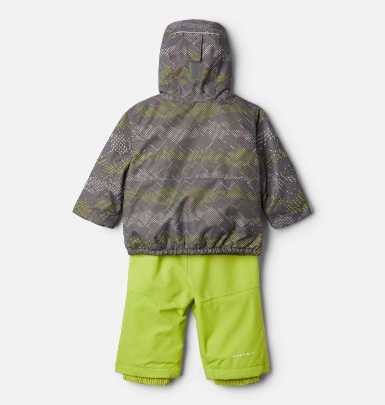 Buga™ Set | 023 | 12/18 Infant Buga™ Jacket & Bib Set, City Grey Dotscape Print, Brt Chartreuse, back