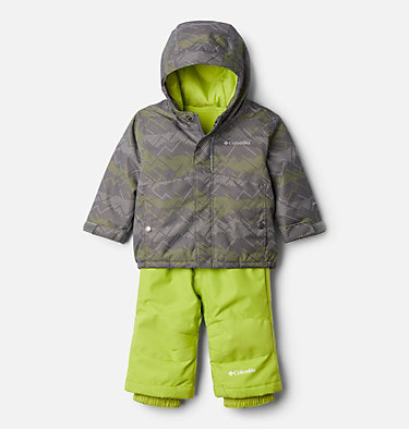 Infant Buga™ Jacket & Bib Set Buga™ Set | 310 | 12/18, City Grey Dotscape Print, Brt Chartreuse, front