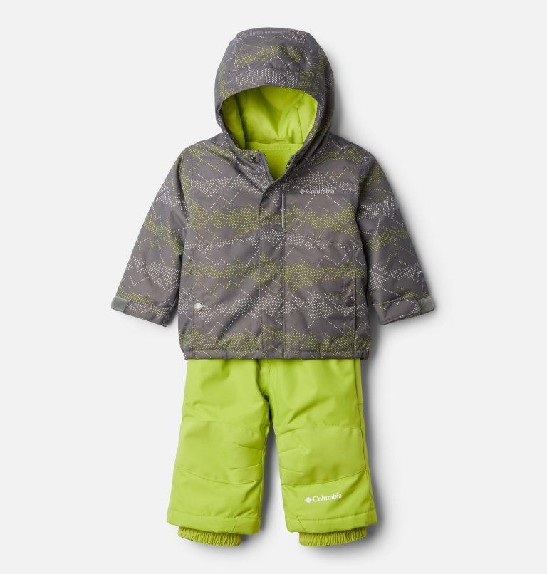 Buga™ Set | 023 | 12/18 Infant Buga™ Jacket & Bib Set, City Grey Dotscape Print, Brt Chartreuse, front