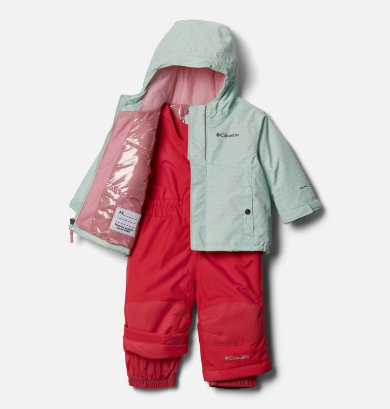 Buga™ Set | 310 | 6/12 Infant Buga™ Jacket & Bib Set, Sea Ice Sparklers Print, Pink Orchid, a1