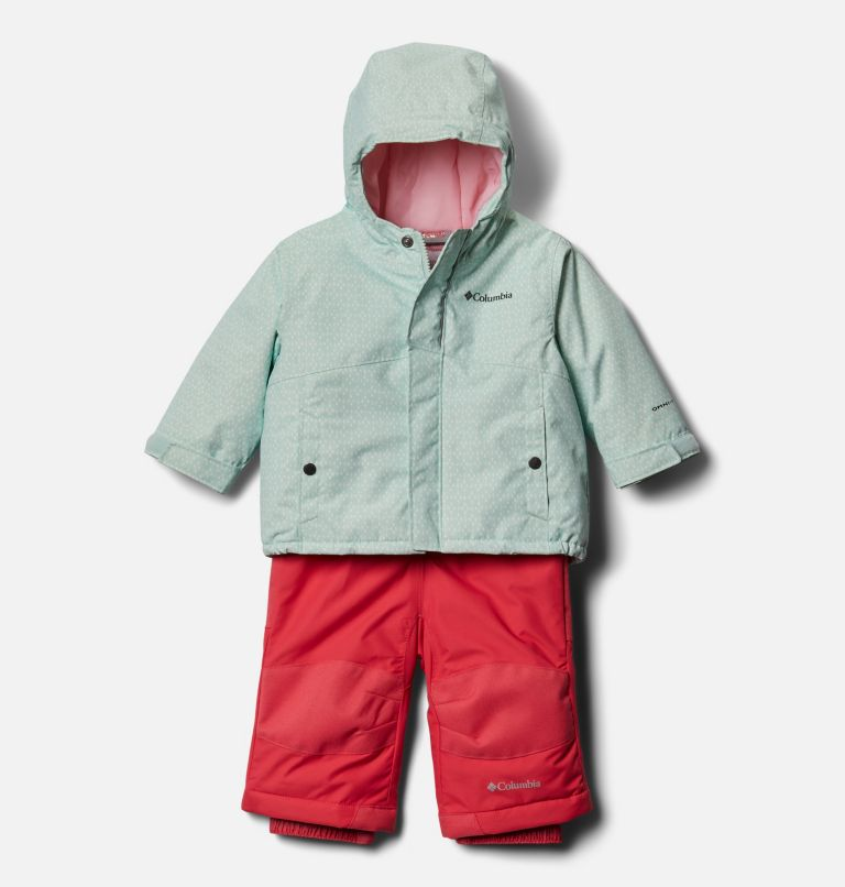 Buga™ Set | 310 | 6/12 Infant Buga™ Jacket & Bib Set, Sea Ice Sparklers Print, Pink Orchid, front