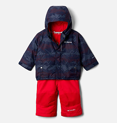 Infant Buga™ Jacket & Bib Set Buga™ Set | 310 | 12/18, Collegiate Navy Dotscape Print, Mtn Red, front