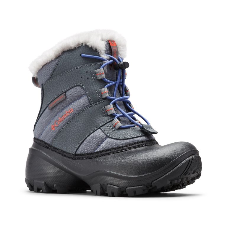 YOUTH ROPE TOW™ III WATERPROOF   033   6 Big Kids' Rope Tow™ Waterproof Faux-Fur Trim Boot, Ti Grey Steel, Red Canyon, 3/4 front