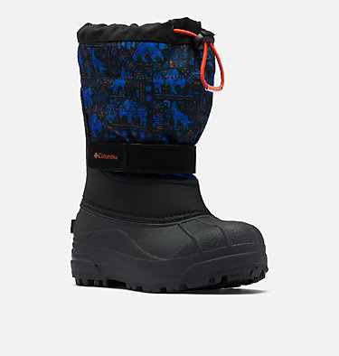 Big Kids' Powderbug™ Plus II Print Snow Boot YOUTH POWDERBUG™ PLUS II PRINT | 053 | 1, Black, Tangy Orange, 3/4 front