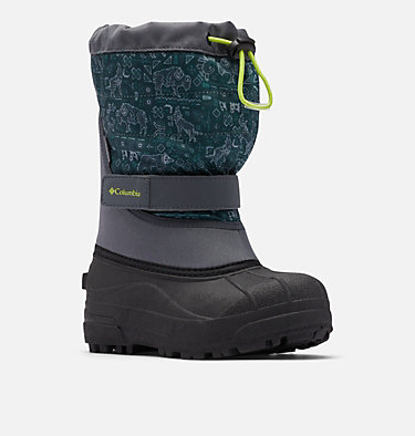 Big Kids' Powderbug™ Plus II Print Snow Boot YOUTH POWDERBUG™ PLUS II PRINT | 053 | 1, Graphite, Acid Green, 3/4 front