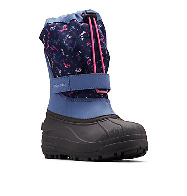 Big Kids' Powderbug™ Plus II Print Snow Boot YOUTH POWDERBUG™ PLUS II PRINT | 053 | 1, Bluebell, Pink Ice, 3/4 front