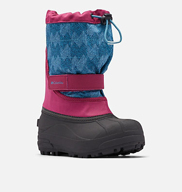 Big Kids' Powderbug™ Plus II Print Snow Boot YOUTH POWDERBUG™ PLUS II PRINT | 053 | 1, Dark Fuchsia, Shasta, 3/4 front
