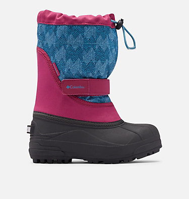 Big Kids' Powderbug™ Plus II Print Snow Boot YOUTH POWDERBUG™ PLUS II PRINT | 053 | 1, Dark Fuchsia, Shasta, front
