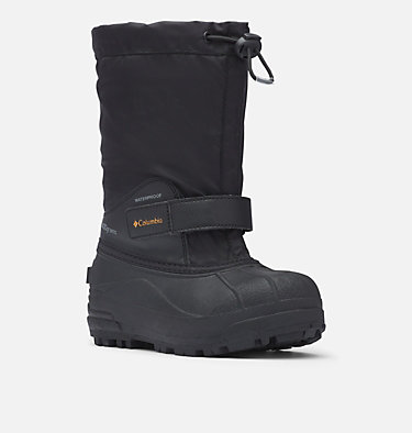Big Kids' Powderbug™ Forty Snow Boot YOUTH POWDERBUG™ FORTY | 408 | 1, Black, Orange Blast, 3/4 front