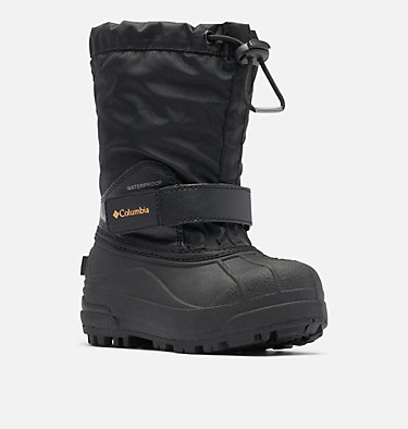 Little Kids' Powderbug™ Forty Snow Boot CHILDRENS POWDERBUG™ FORTY | 408 | 10, Black, Orange Blast, 3/4 front