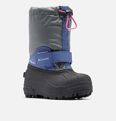Little Kids' Powderbug™ Forty Snow Boot CHILDRENS POWDERBUG™ FORTY | 408 | 10, Ti Grey Steel, Pink Ice, 3/4 front