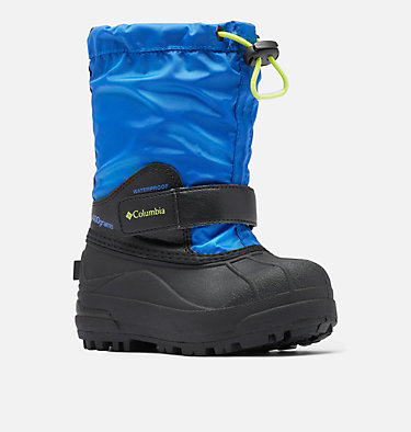 Little Kids' Powderbug™ Forty Snow Boot CHILDRENS POWDERBUG™ FORTY | 408 | 10, Cobalt, Acid Green, 3/4 front