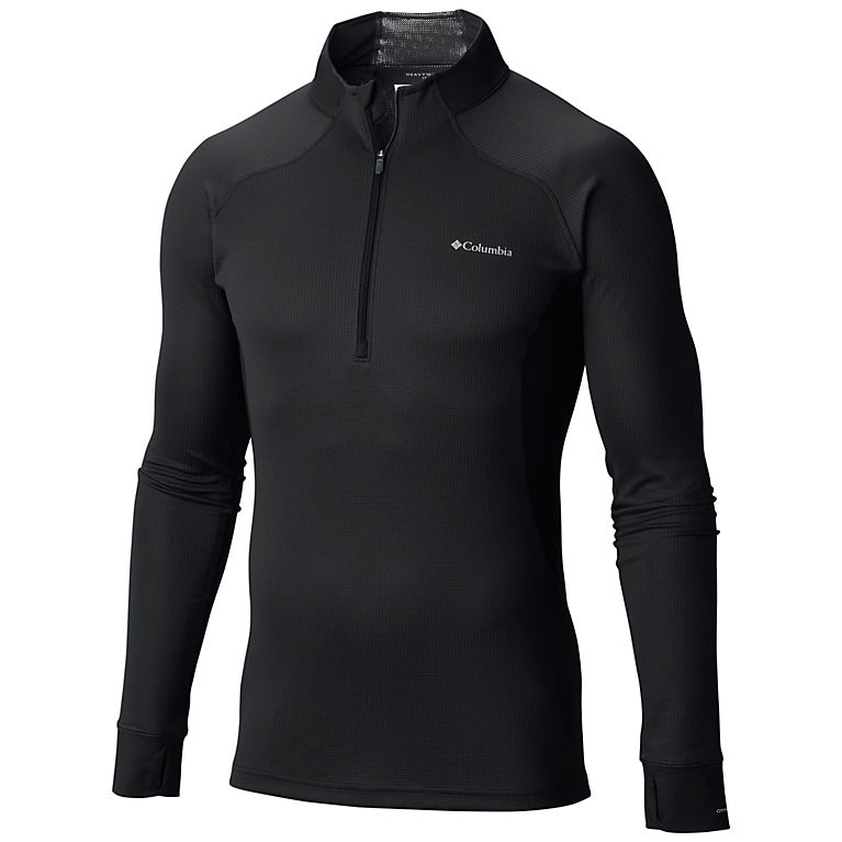 Black Men's Heavyweight II Stretch Baselayer Long Sleeve Half Zip Shirt, View 0