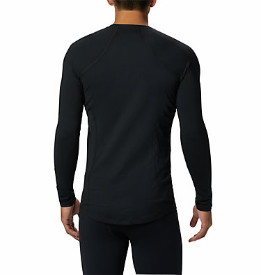 Men's Midweight Stretch Baselayer Long Sleeve Shirt Midweight Stretch Long Sleeve Top | 057 | L, Black, back