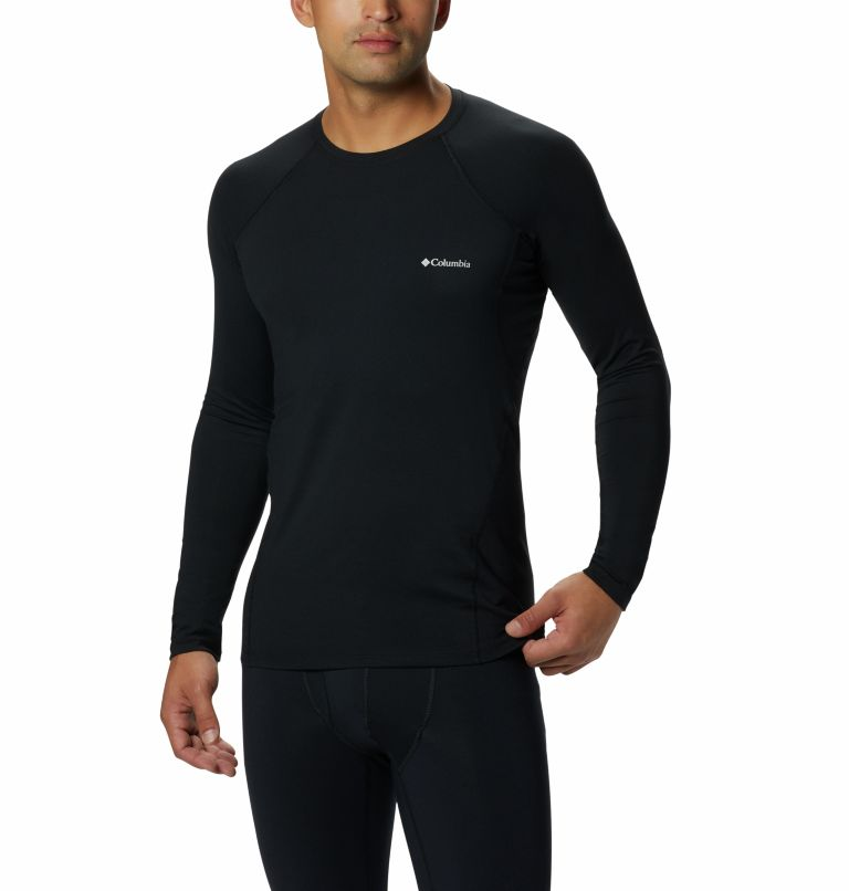 Midweight Stretch Long Sleeve Top | 010 | XL Men's Midweight Stretch Baselayer Long Sleeve Shirt, Black, front
