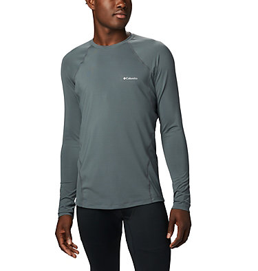 Men's Midweight Stretch Baselayer Long Sleeve Shirt - Big Midweight Stretch Long Sleeve Top | 057 | 1X, Graphite, front