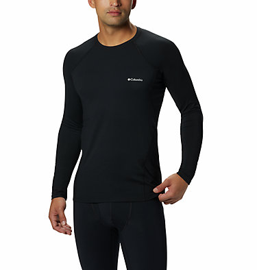 Men's Midweight Stretch Baselayer Long Sleeve Shirt - Tall Midweight Stretch Long Sleeve Top | 010 | 5XT, Black, front