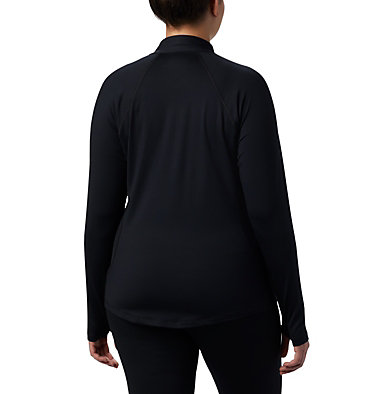 Women's Midweight Stretch Long Sleeve Half Zip - Plus Size Midweight Stretch Long Sleeve Half Zip | 673 | 1X, Black, back