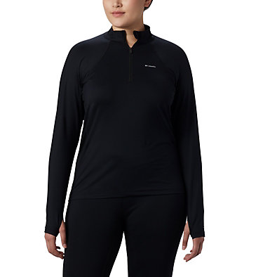 Women's Midweight Stretch Long Sleeve Half Zip - Plus Size Midweight Stretch Long Sleeve Half Zip | 673 | 1X, Black, front
