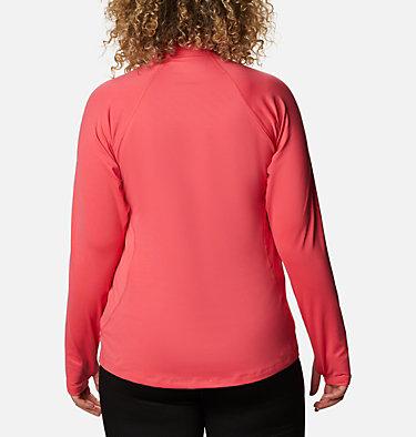 Women's Midweight Stretch Long Sleeve Half Zip - Plus Size Midweight Stretch Long Sleeve Half Zip | 673 | 1X, Bright Geranium, back