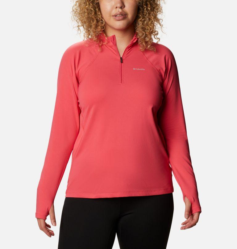 Chandail à manches longues avec demi-fermeture éclair en tissu poids moyen extensible pour femme - Grandes tailles Chandail à manches longues avec demi-fermeture éclair en tissu poids moyen extensible pour femme - Grandes tailles, front