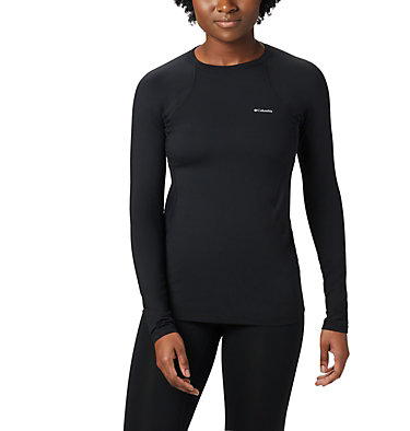 Women's Midweight Stretch Baselayer Long Sleeve Shirt Midweight Stretch Long Sleeve Top | 010 | L, Black, front