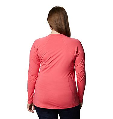 Women's Midweight Stretch Long Sleeve Shirt - Plus Size Midweight Stretch Long Sleeve Top | 673 | 1X, Bright Geranium, back